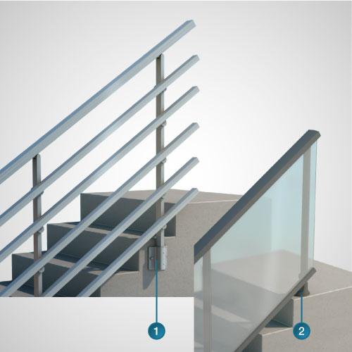 Dani alu panorama garde corps aluminium pour balcon for Fixation garde corps a l anglaise